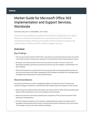 —	Gartner 2019 Market Guide for Microsoft Office 365 Implementation cover