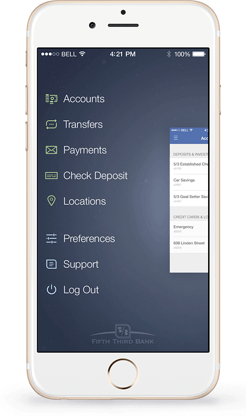 Rendering of Fifth Third Bank home screen of their mobile banking application