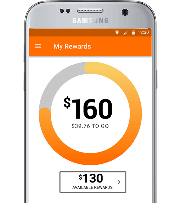 Rendering of the reward points displayed from the Rack Room Shoes mobile application