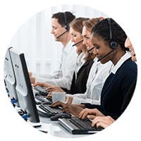 Group of call center support representatives