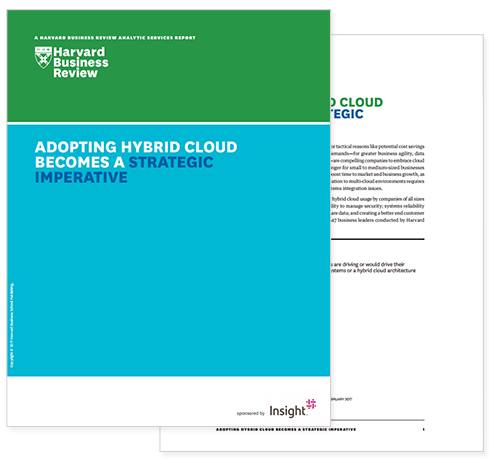Cover and first page of Harvard Business Review: Adopting Hybrid Cloud Becomes a Strategic Imperative whitepaper