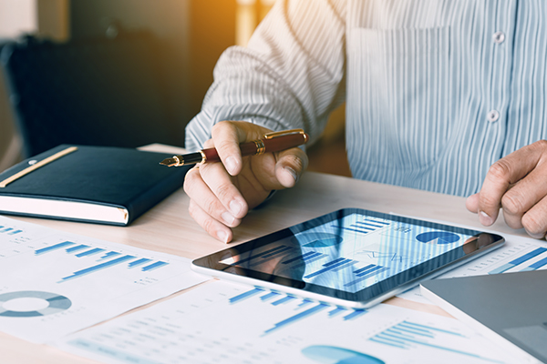 Close up of data on tablet device