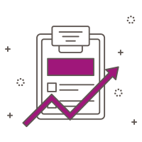 Illustrated icon a clipboard and forward arrow