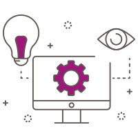 Illustrated icon of gear in desktop computer with lightbulb