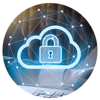 Cloud security icon and a laptop