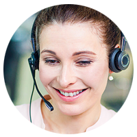Client support rep on Jabra Evolve 40 headset
