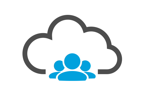 Illustration with cloud and busines employees in the bottom middle