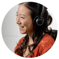 Woman smiling while using Plantronics headset