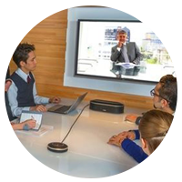 Meeting room with Revolab VoIP conferencing.