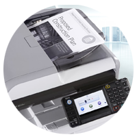 Close up of Ricoh multifunction laser printer