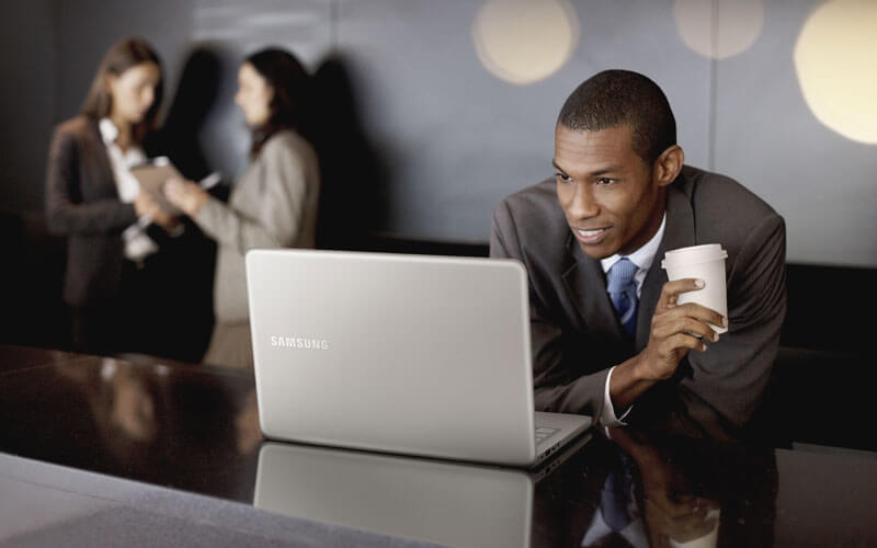 Business man using Samsung Chromebook remotely