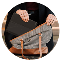 ZAGG keyboard case wrapped around iPad into purse lifestyle