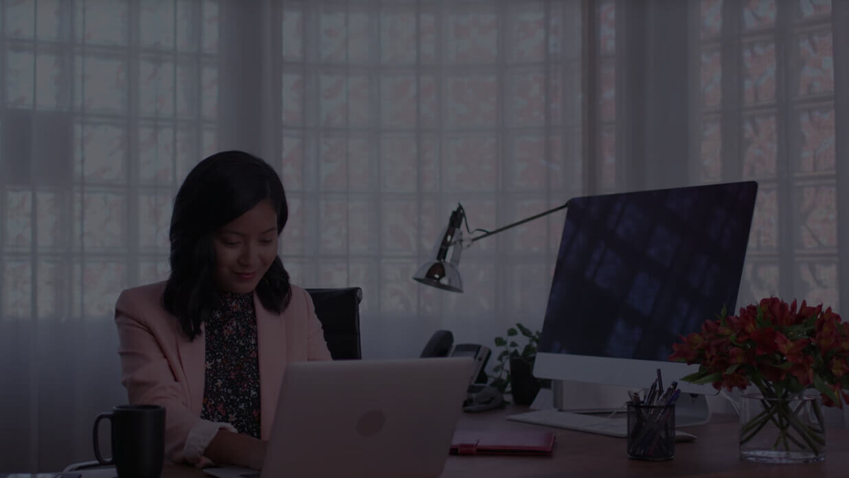 Business person working on computer in office