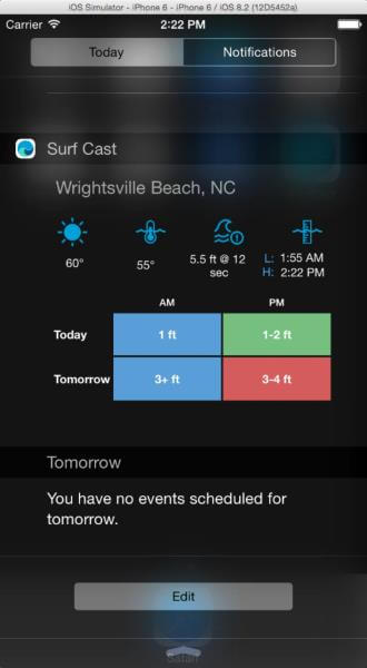 Today view in the iOS notification center