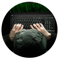 An internet attacker using a laptop device with encryption code