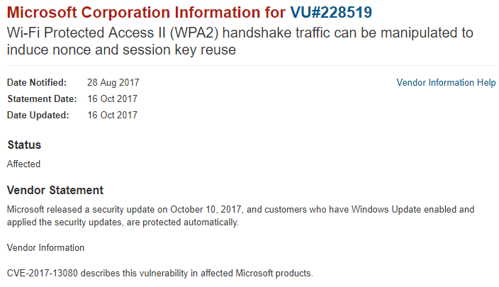 A document showing the Microsoft Corporation information for VU #228519