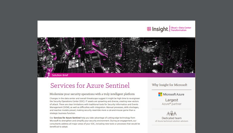 Cover view of Services for Azure Sentinel solution brief that is available to download below
