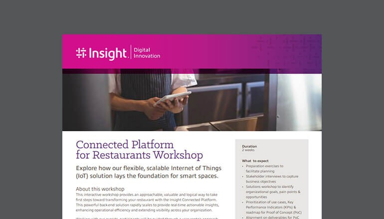 Cover for the Insight Connected Platform for Restaurants Workshop datasheet available to download below