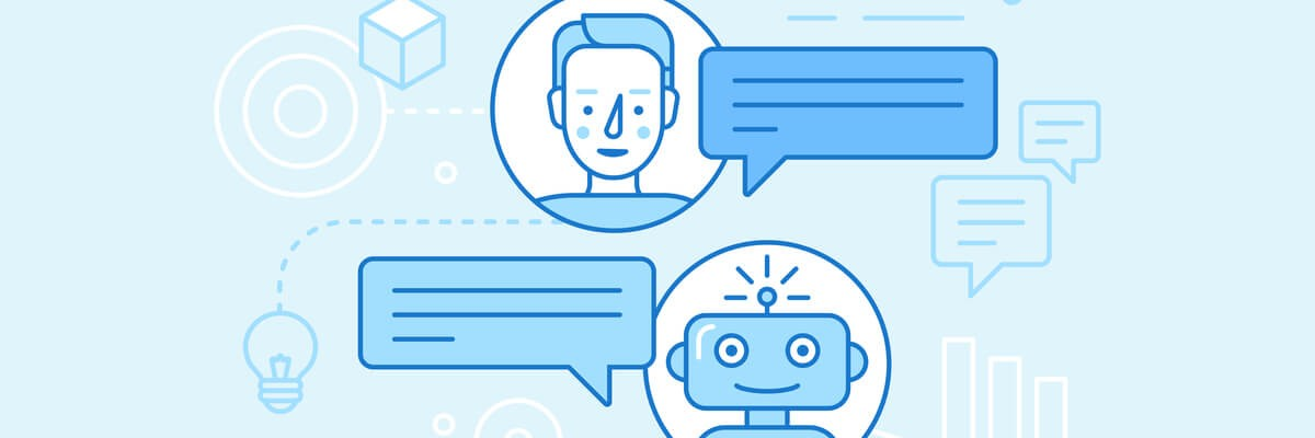 Illustration of a user communicating with a chatbot