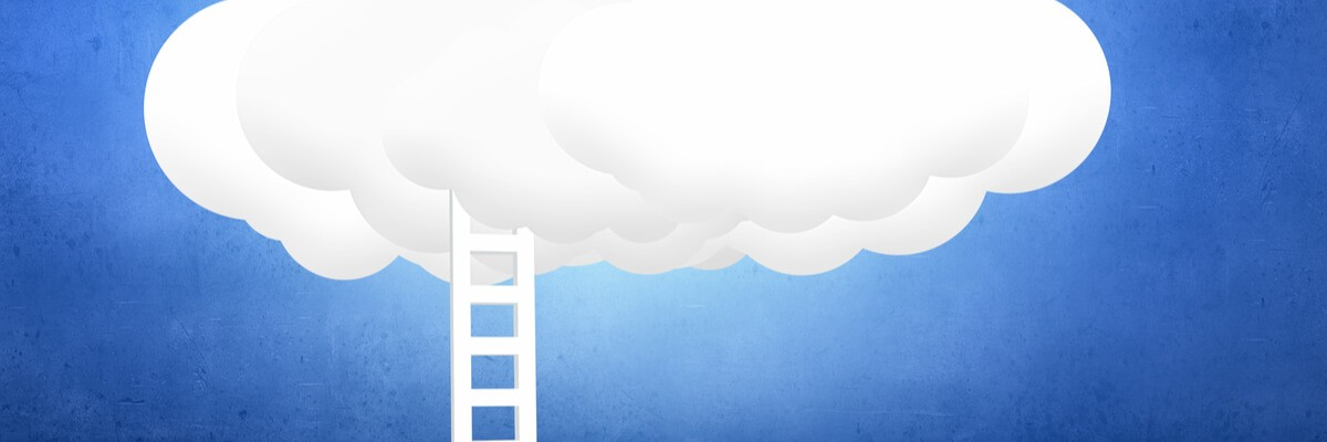 Rendering of cloud with ladder leading to it