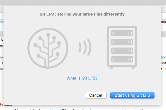 Display of opening pop up screen for Git LFS