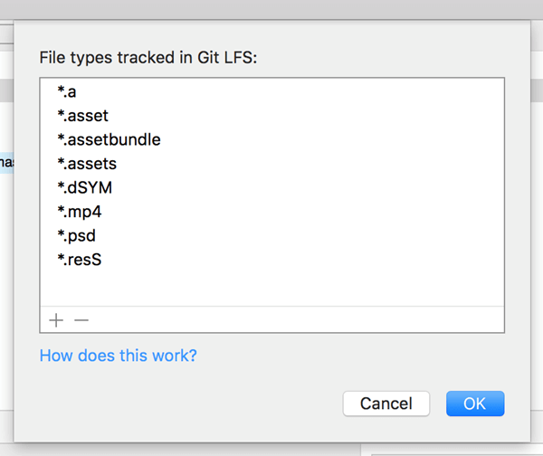 Display of acceptable types of Git LFS extensions