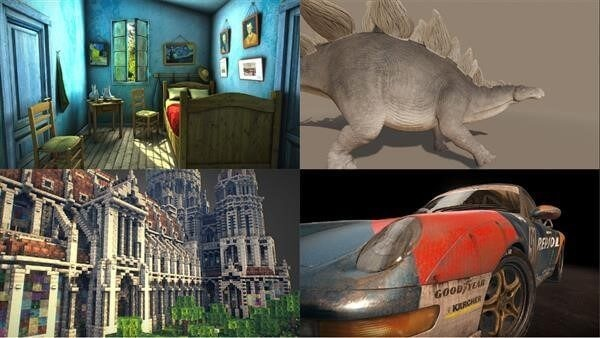 Various digital models, photos and objects rendered through a 3D engine