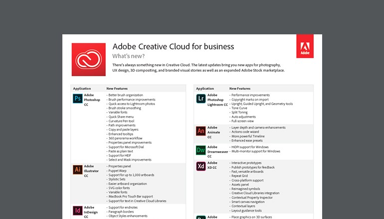 Adobe Creative Cloud for Business datasheet thumbnail