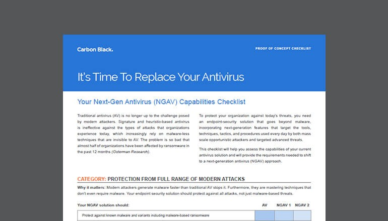 Thumbnail of cover of Carbon Black Next-Gen Antivirus Capabilities Checklist