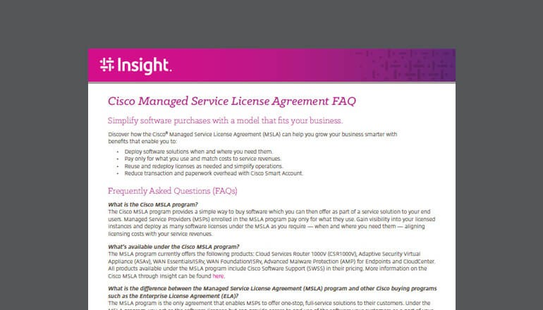 Cisco Managed Service License Agreement FAQ cover thumbnail