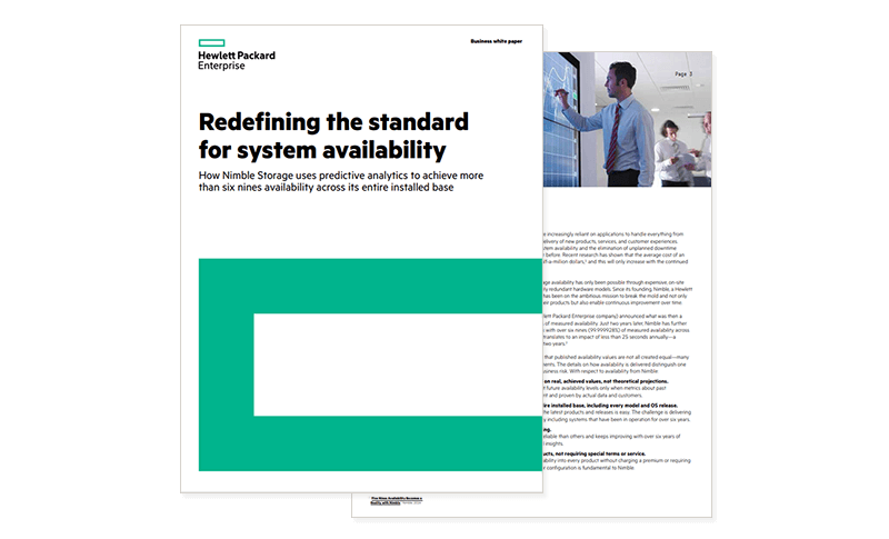 HPE's Redefining the Standard for System Availability whitepaper cover and secondary page