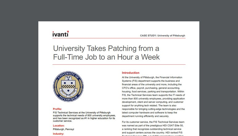 Ivanti University of Pittsburgh Case Study cover