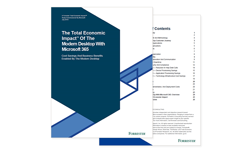 Cover of The Total Economic Impact of the Modern Desktop With Microsoft 365 Forrester report for download