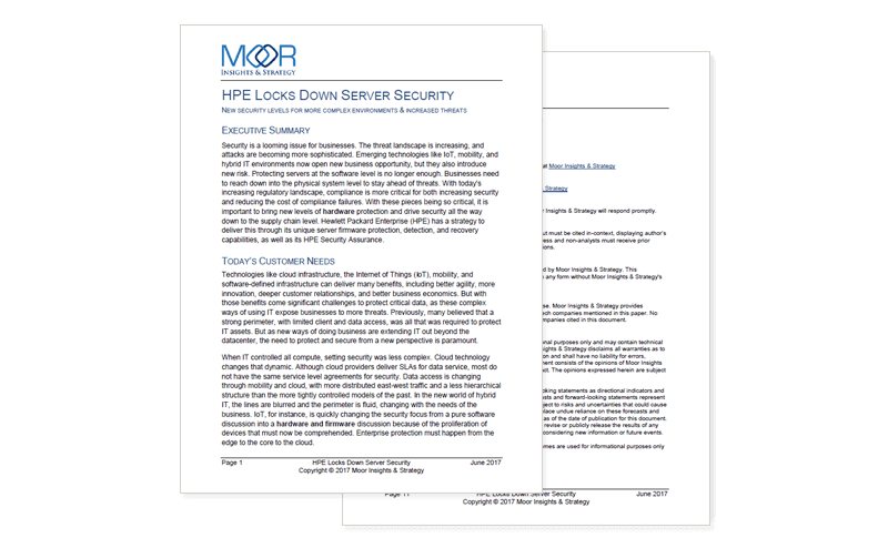 HPE Locks Down Server Security report cover