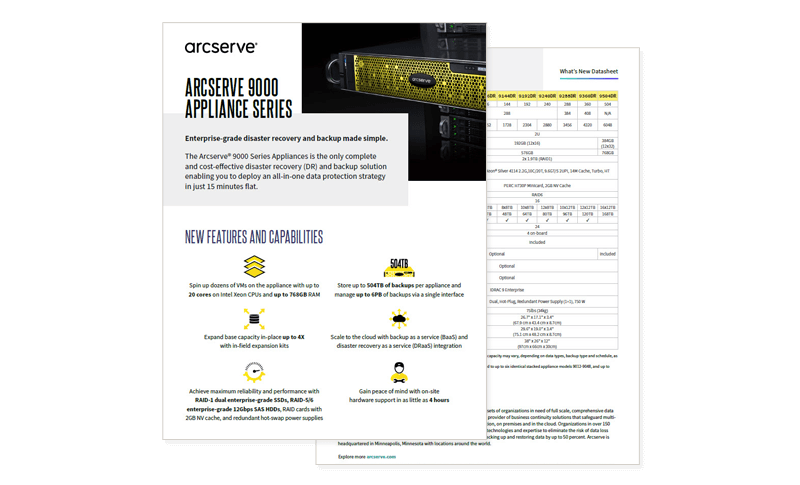 Arcserve UDP 9000 Appliance Series datasheet cover