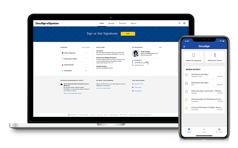 DocuSign signature software displayed on notebook and smart phone devices