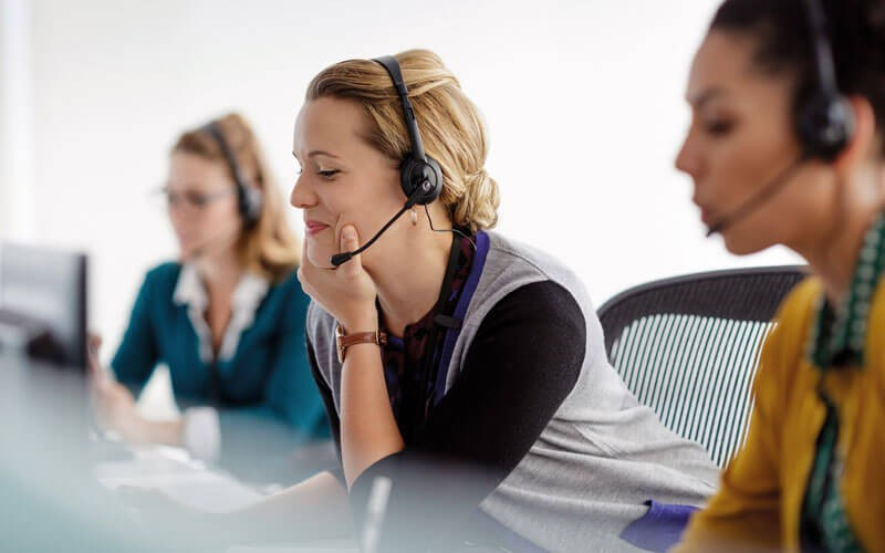 Team on headset, call center support