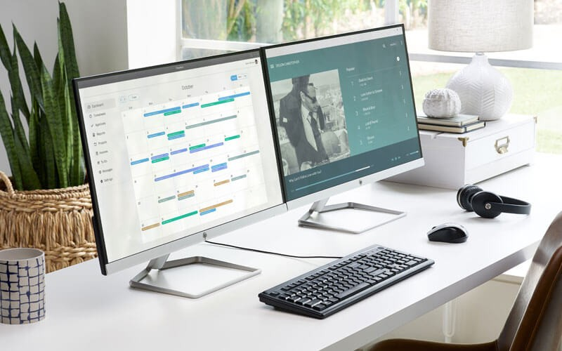 HP displays and accessories on desk