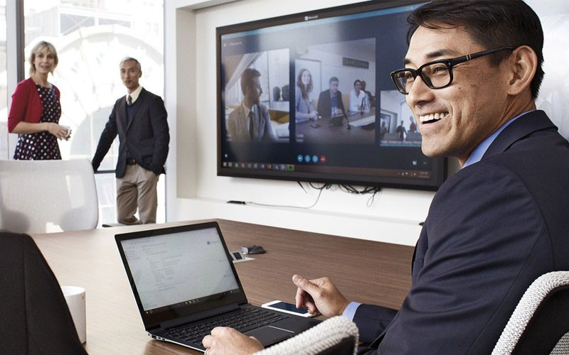 Business meeting using videoconferencing