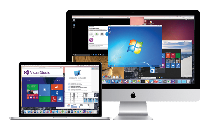 Parallels Desktop for Mac Business Edition displayed on multiple Mac products