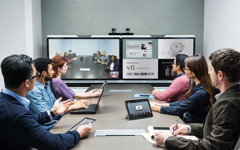 Polycom conference meeting with video and voice solution for collaboration